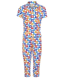 Doreme Half Sleeves Night Suit - Teddy Face in Square
