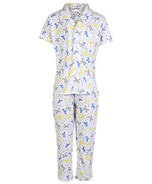 Doreme Short Sleeves Nightsuit - Air Travel Print