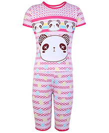 Doreme Half Sleeves Night Suit - Panda Face Print