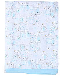 Zero Baby Wrapper Sky Blue And White - Teddy Print