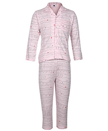 Teddy Full Sleeves Night Suit - Abstract Print