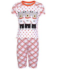 Doreme Half Sleeves Night Suit - Teddy Bear Print