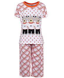 Doreme Full Sleeves Night Suit - Teddy Bear Print