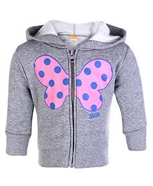 Little Kangaroos Full Sleeves Hooded Sweatshirt - Butterfly Print
