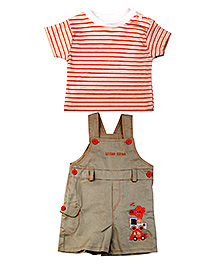 Littleopia Dungaree Style Romper With T-Shirt - Vehicle Patch