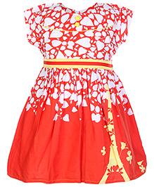 Babyhug Frock Red And White - Leaf Print