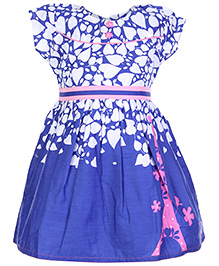 Babyhug Frock Blue And White - Leaf Print