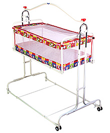Infanto Compact Cradle Deluxe Red - Cat And Dot Print
