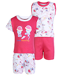 Babyhug 4 Piece Set - White And Dark Pink
