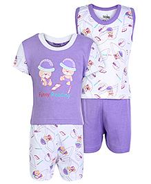 Babyhug 4 Piece Set - White And Purple