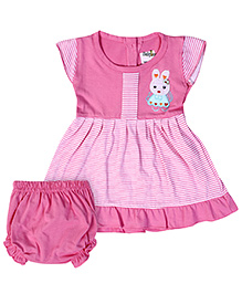 Babyhug Short Sleeves Frock With Bloomer - Bunny Patch