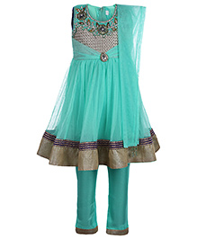 Babyhug Kurta And Churidar With Dupatta - Diamond Embroidery