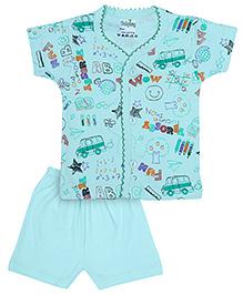 Babyhug Front Open T-Shirt And Shorts Set - Fun Print