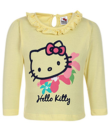 Hello Kitty Top Full Sleeves Printed - Yellow