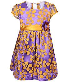 Babyhug Frock Short Sleeves Lavender And Gold - Floral
