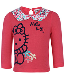 Hello Kitty Top Full Sleeves Printed - Peach