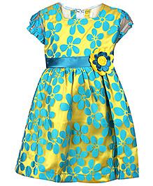 Babyhug Frock Short Sleeves Aqua Blue And Gold - Floral