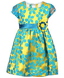 Babyhug Frock Short Sleeves Aqua Blue And Gold - Floral