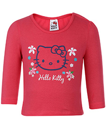 Hello Kitty Top Full Sleeves Round Neck - Peach