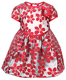 Babyhug Frock Short Sleeves - Flower Applique