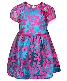 Babyhug Frock Short Sleeves - Flower Applique