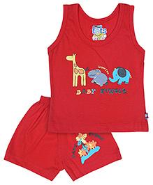 Bumchums Sleeveless T Shirt And Shorts Set - Red