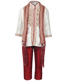 Babyhug Kurta Full Sleeves And Pyjama With Dupatta - Cream