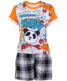 Babyhug Half Sleeves T-Shirt And Shorts - Happy Print