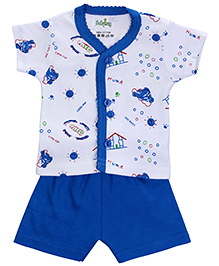 Babyhug Front Open T-Shirt And Shorts Set - Little Star Print
