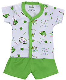 Babyhug Front Open T-Shirt And Shorts Set - Little Star Print