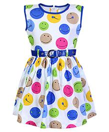 Babyhug Sleeveless Frock With Belt - Smiley Print