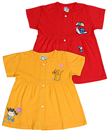 Bumchums Short Sleeve Front Open Frock - Set Of 2