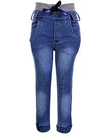 Little Kangaroos Denim Jeans With Drawstring Waist Pattern