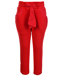 Little Kangaroos Trousers Polka Dots Print Bow Applique - Red