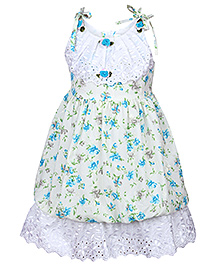 Babyhug Floral Print Frock With Lace Work - Singlet Sleeves