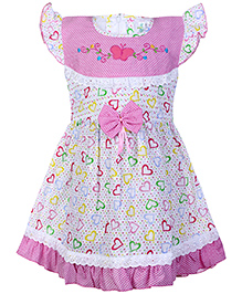 Babyhug Printed Frock Flutter Sleeves - Butterfly Embroidery