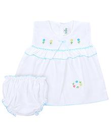 Babyhug Sleeveless Frock With Bloomer - Embroidery Design