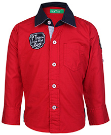 Palm Tree Contrast Colour Collar Shirt Roll Up Sleeves - Red