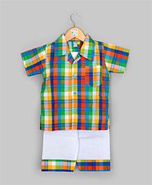 2 Piece Green & Orange Pajama Set