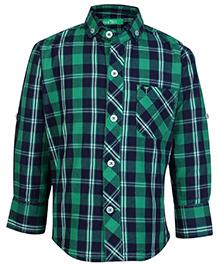 Palm Tree Full Sleeve Shirt Green - Checks Print