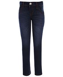 Palm Tree Denim Jeans Dark Blue - Contrast Colour Stitching
