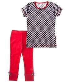 Claesens Short Sleeves T-Shirt And Long John - Daisy Prints