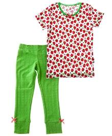 Claesens Short Sleeves T-Shirt And Long John - Strawberry Prints