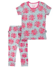 Claesens Short Sleeves T-Shirt And Long John - Rose Prints