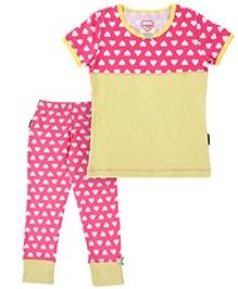 Claesens Short Sleeves T-Shirt And Long John - Heart Prints