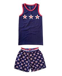 Claesens Sleeveless Vest And Shorts Navy - Star Prints