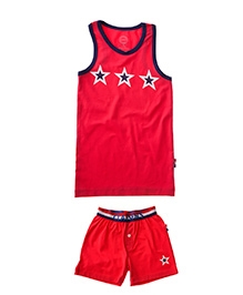 Claesens Sleeveless Vest And Shorts Red - Star Prints