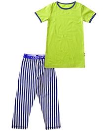 Claesens Short Sleeves Night Suit - Stripes Print