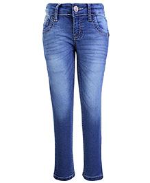 Palm Tree Denim Jeans - V Pocket Design