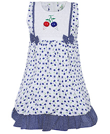 Babyhug Sleeveless Frock Blue - Fruit Print